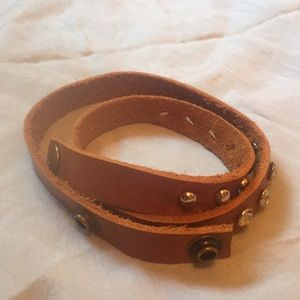 Jewelry - Brown Leather stud bracelet.
